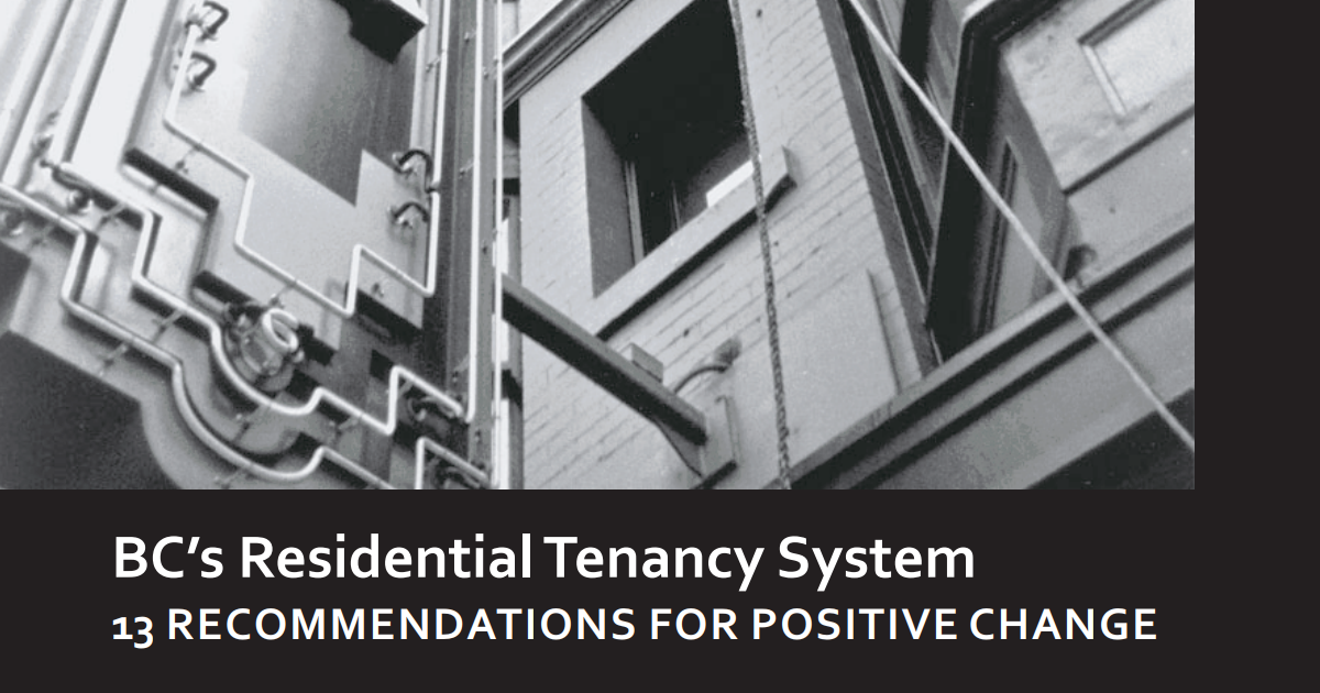 Image of building with BC's residential Tenancy System report title text below